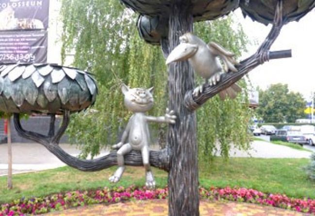 "The monument to the character from the Soviet cartoon ""Kitten from Lizyukova street"""
